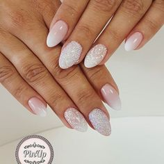 Znalezione obrazy dla zapytania ślubne paznokcie Wedding Manicure, Nagel Gel, Almond Nails, Gel Nails, Nail Designs, Hair Beauty, Make Up, Nail Art, Shapes
