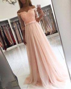 Elegante Abendkleider Lang Rosa Mit Ärmel Abendmoden Spitze Günstig_Brautkleider,Abiballkleider,Abendkleider
