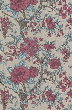 Tapete Little Monkeys col.50 | FT89948-1 | Alle Tapeten in den Farben bordeaux-graubraun-hellblau | Grundton silbergold