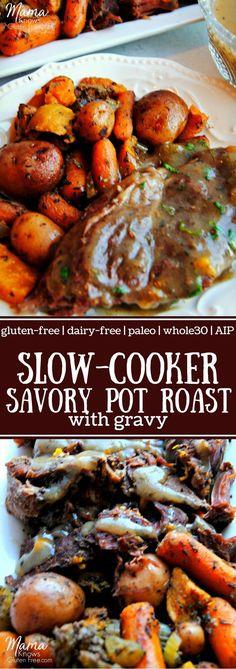 Slow-Cooker Savory Pot Roast with Gravy. Gluten-free, dairy-free, Paleo, and AIP. Pot Roast Gravy, Easy Pot Roast, Beef Pot Roast, Slow Cooker Roast, Crock Pot Recipes, Pot Roast Recipes, Slow Cooker Recipes, Crockpot Meals, Gluten Free Recipes For Dinner