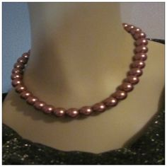 Chocolate Champagne Colored Glass Pearl Necklace, Handcrafted