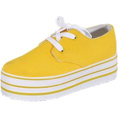 Women's Canvas Platform Sneakers ($28) ❤ liked on Polyvore featuring shoes, sneakers, fashion sneakers, yellow, canvas sneakers, yellow sneakers, flexible shoes, canvas trainers and platform canvas shoes