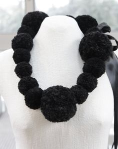 Black Pearl Pom Pom Giant necklace statement by MandyGreerStudio