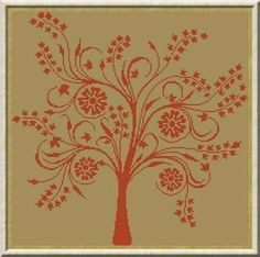 """Cross Stitch pattern Pretty tree. Could take off the flowers and make more """"primitive"""" style"""