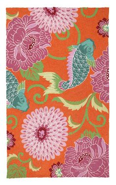 Koi Hooked Rug A summer colorful hooked rug 3 ft. x 5 ft. in wool and cotton. Available now at SpacesHomeDecor.com
