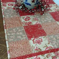 Quilted Table Runner, country table runner, patchwork runner, 36 x 16, floral fabrics, deep red, rose, green, off white