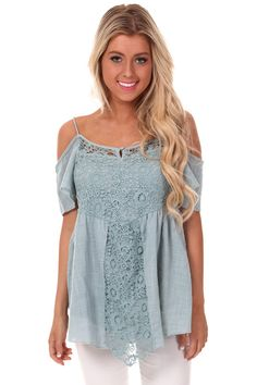 a90d48d86e Lime Lush Boutique - Sage Open Shoulder Lace Detail Top