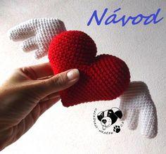 Srdce s křídly - návod na háčkování  _________#srdce#křídla#srdíčko#láska#love#heart#wings#crochet#pattern#návod#háčkované#PDF Valentines Day, Crochet Hearts, Amor, Valantine Day, Valentine's Day, Valentines