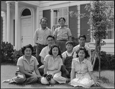 Mountain View, California. Members of the Shibuya family are pictured at their home before evacuation. The father and the mother were born in Japan and came to this country in 1904. At that time the father had 0 in cash and a basket of clothes. He later built a prosperous business of raising select varieties of chrysanthemums which he shipped to eastern markets under his own trade name. Six children in the family were born in the United States. The four older children attended leading…