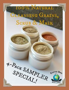 4 pk SAMPLER! 100% Natural Cleansing Grains, 2-in-1 Facial Scrubs & Masks with Certified Organic Moringa. Anti Aging, Acne, Dry Blend. Vegan by earthsownbathnbody on Etsy