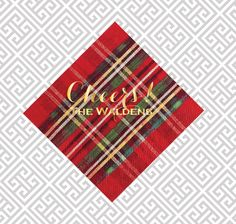 Christmas napkins, Holidaynapkins, foil stamped napkins, Plaid napkins, festive napkins, holiday guest towels, Christmas guest towels by SequinsAndLipstick on Etsy