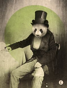 Why do I love vintage pictures altered with animal heads so much???  by Chase Kunz on Society6 website.