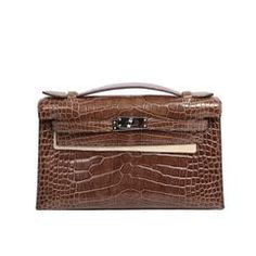 Hermes Kelly Pochette Clutch Cocoa Shiny Alligator with Palladium Hardware
