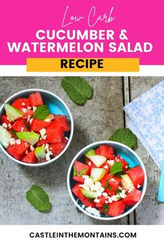 Low Carb Watermelon Salad Recipe - 4 Net Carbs! This watermelon salad recipe is the ultimate Keto Summer side dish. Cucumbers, feta mint and a spicy dressing will wow you & your family.