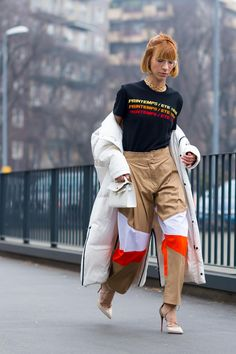 On the street at Milan Fashion Week. Photo: Moeez.