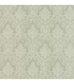 Washed over tonal creamed green damask detailed and small-scale over hints of stria adds a shabby chic touch to this traditional design.   Prepasted Vinyl Coated Material21-in repeat and a straight ma
