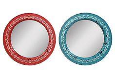 "15"" Round Metal Framed Mirrors, Set of 2 on OneKingsLane.com"