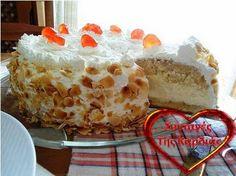 ΣΥΝΤΑΓΕΣ ΤΗΣ ΚΑΡΔΙΑΣ: Τούρτα αμυγδάλου Greek Desserts, Greek Recipes, No Bake Desserts, Greek Cake, Cooking Time, Cooking Recipes, Cheesecake Tarts, Cake Cookies, Vanilla Cake