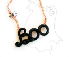 Halloween Necklace Crochet Tube Boo Written by vanessahandmade on etsy