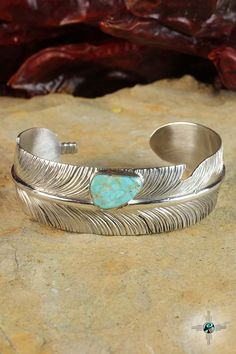 Beautiful Turquoise Feather Navajo Sterling Silver Bracelet by Ben Begaye - Turquoise Skies