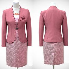 Pink Long Sleeve Wedding Guest Mother of the Bride Dress Suit Clothing SKU-1040051