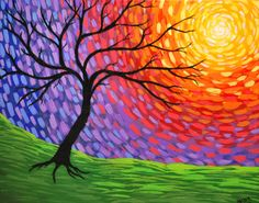 Abstract Tree Art Acrylic inch Painting Prismatic Awakening silhouette Sun white red yellow orange purple blue green black via Etsy: Tree Of Life Painting, Abstract Tree Painting, Simple Acrylic Paintings, Colorful Paintings, Painting & Drawing, Abstract Art, Tree Paintings, Acrylic Painting For Kids, Abstract Trees