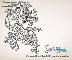 Vinyl Wall Decal Sticker Flower Design Floral Wall Decal - Custom vinyl wall decals dragon