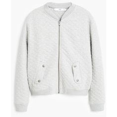 MANGO Pocket Cotton Bomber Jacket ($70) ❤ liked on Polyvore featuring outerwear, jackets, zipper jacket, pocket jacket, long sleeve jacket, zip pocket jacket and flap jacket