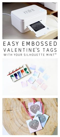 Easy Embossed Valentines Tags With Your Silhouette Mint™ Silhouette Mint, Silhouette Design, Make Your Own Stamp, Silhouette Portrait, Silhouette Cameo Projects, Card Making, Gift Wrapping, Valentines, Crafty