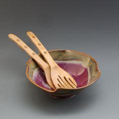 Pottery Bowl Plum Red Brown Porcelain by Mark Hudak on Etsy, $35.00