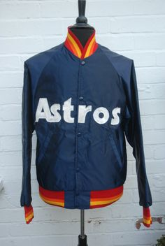 5ac11fc05 Vintage 1980 s Houston Astros MLB Satin Style Baseball Bomber Jacket by Starter  XL