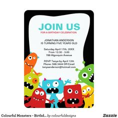 Shop Colourful Monsters - Birthday Party Invitation created by colourfuldesigns. Monster Birthday Invitations, Monster Birthday Parties, Birthday Cartoon, Cute Monsters, Zazzle Invitations, Birthday Celebration, Invitation Design, Colourful Designs