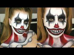 Furchtsame Clown-Halloween-Make-upideen ! - New Ideas Halloween Clown, Image Halloween, Halloween Karneval, Halloween Tutorial, Theme Halloween, Halloween Looks, Halloween Makeup, Halloween 2018, Scary Face Paint