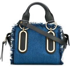 See By Chloé \'Paige\' Tote ($443) ❤ liked on Polyvore featuring bags, handbags, tote bags, tote purses, blue tote, leather handbags, handbags totes and blue tote bag