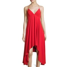 Halston Heritage Halter-Neck Crepe Dress ($134) ❤ liked on Polyvore featuring dresses, red, red plunge dress, halter-neck dress, v neck halter dress, neck-tie and halter dress