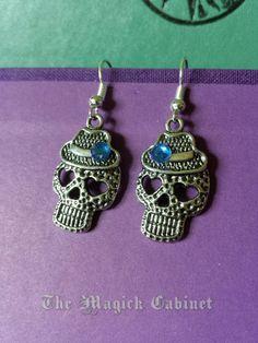 Halloween Earrings, Jewelry, Skull Earrings, Day of the Dead, Dia de los Muertos, Skull Earrings, Pagan Witch, Pagan Earrings, Earrings