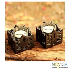 Novica Set of 2 Rain Tree Wood 'Thai Fleur De Lis' Candleholder (Thailand) (Solid)