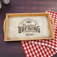 Personalized serving tray has the family last name and established year along inside a beer stained logo Gifts For Beer Lovers, Bar Gifts, Wine Gifts, Personalized Housewarming Gifts, Personalised Gifts For Him, Last Minute Christmas Gifts, Holiday Gifts, Bbq House, Kitchen Gifts