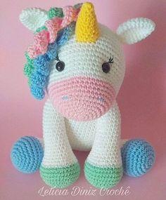 Crochet Unicorn Pattern, Crochet Horse, Giraffe Crochet, Crochet Baby Toys, Crochet Patterns Amigurumi, Cute Crochet, Crochet Animals, Unicorn Crafts, Idee Diy