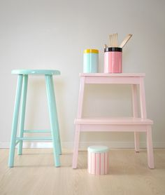 Pastel painted wooden furniture