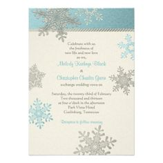 Silver Blue Snowflake Winter Wedding Invitation