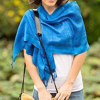 Silk scarf, 'Blueberry Supreme'