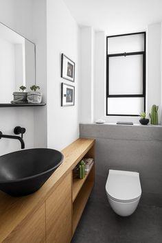 MG House by Maya Sheinberger Interior Design Studio – casalibrary Small Toilet Room, Guest Toilet, Downstairs Toilet, Zen Bathroom, White Bathroom, Small Bathroom, Bathroom Ideas, Master Bathroom, Modern Bathroom Design