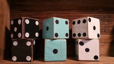 ******SET INCLUDES 6 DICE******  The possibilitys are endless when it comes to these beautiful dice set! You can add them to just about any room to add the special touch, or you can use them in your yard for when you have company over and have some fun with a family game!! They are hand made of solid wood and with a distressed finish on them. Each Dice also is weather proof with an outdoor sealant so you dont have to worry about the paint coming/wearing off. Each Dice is roughly 3.5 in X...