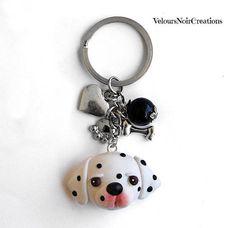 Keychain with Dalmatian dog polymer clay