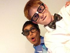 The boys dressed as Nerds and looking very natural