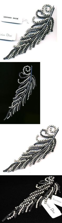 Pins Brooches 165894: Signed Christian Dior Pin Brooch Gunmetal Set With Pearls And Crystal New -> BUY IT NOW ONLY: $275 on eBay!
