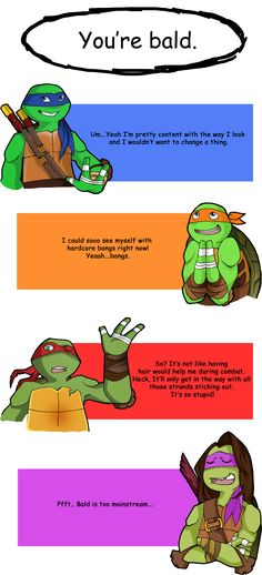 TmnT- Youre bald. by The-BIG-M.deviantart.com on @deviantART Donnie though!!! I'm in tears! Bahahahahahahhahahahahha!