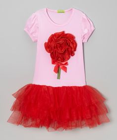 Pink & Red Rosette Puff-Sleeve Tutu Dress - Toddler & Girls | Daily deals for moms, babies and kids