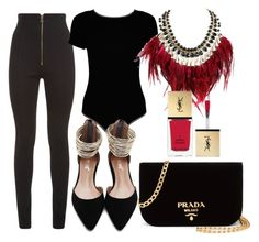 """""""Black and gold with a touch of red"""" by itsmaggie4 on Polyvore featuring Balmain, Boohoo, WithChic, Prada and Yves Saint Laurent"""